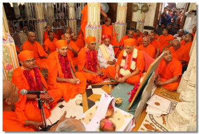 Acharya Swamishree continues the poojan ceremony