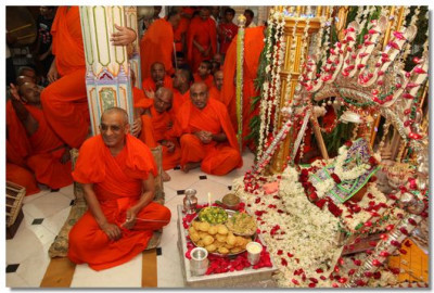 Acharya Swamishree gives darshan during the utsav