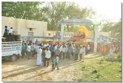 A procession starts from the outer gates of Bakrol
