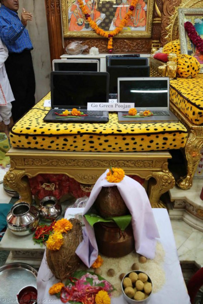 Some of the laptops consecrated by Acharya Swamishree