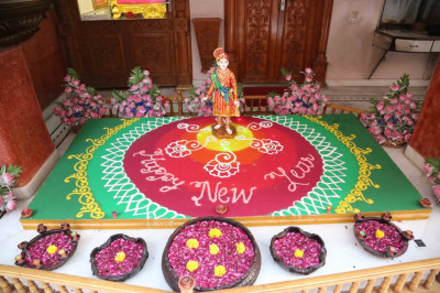 New year's day rangoli in Maninagar