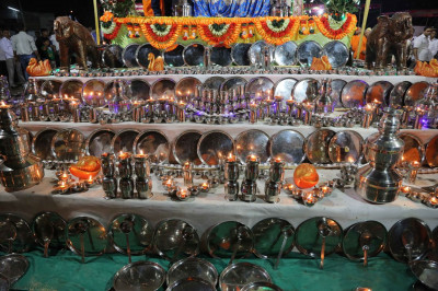 A display of steel utensils