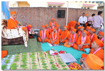 Acharya Swamishree and sants give darshan at the temple ground