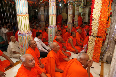 Sants and disciples gathered inside Mandir