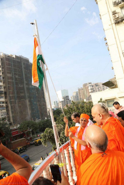 The Tiranga raised at Mumbai Mandir