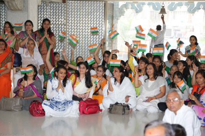 Disciples wave flags to celebrate India's Republic Day