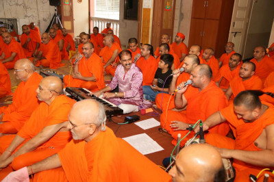 Sants sing kirtans during the celebrations