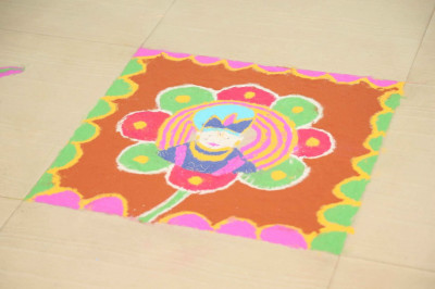 Some of the rangoli created by young Baal Mandir children