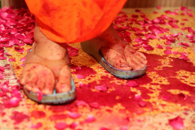Divine darshan of Acharya Swamishree's lotus feet