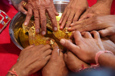 The Paduka is bathed with water from the River Ganges, River Jamuna, River Sarasvati and River Saryu