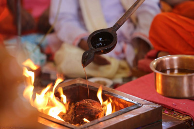 A coconut is placed in the havan
