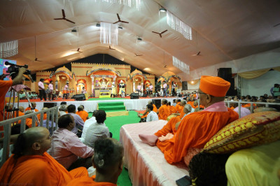 The view of the concert stage from where His Divine Holiness Acharya Swamishree is seated