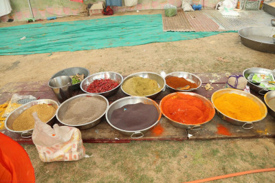 All of the different ingredients and spices have been prepared ready for cooking prasad lunch