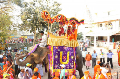 One of the four majestic elephants taking part in the grand procession
