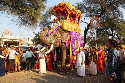 Divine darshan of Acharya Swamishree Maharaj seated on the majestic elephant