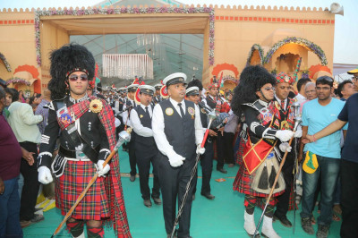 Three pipe bands of Shree Swaminarayan Gadi Sansthan peform together