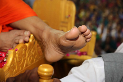 Divine darshan of His Divine Holiness Acharya Swamishree's left lotus foot