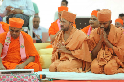 Sants from the Haridham Sokhda organisation came to the assembly with greetings from Shree Hariprasadji Swamishree