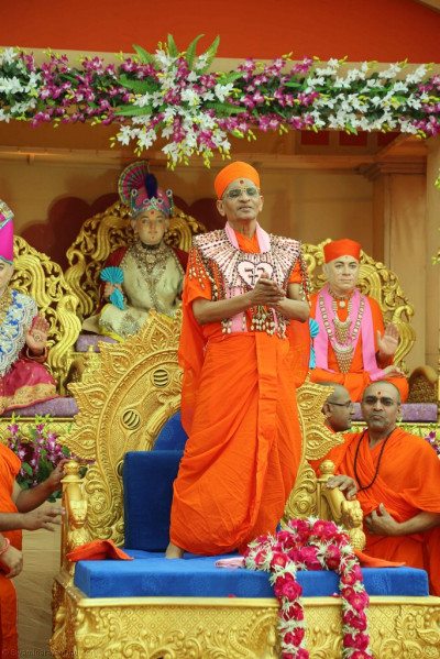 Divine darshan of His Divine Holiness Acharya Swamishree adorned in garments made from various nuts and seeds