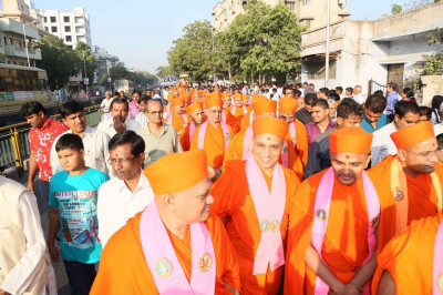 The procession started from Shree Swaminarayan Tower