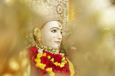 Divine darshan of Lord Shree Swaminarayan adorned in garments made entirely of beautiful fresh fragrant vibrant red flowers trimmed with bright yellow and dazzling white