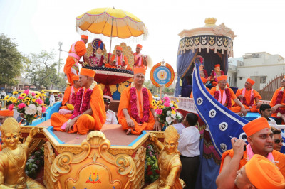 Two beautifully decorated magnificent floats forming part of the huge street procession are prepared