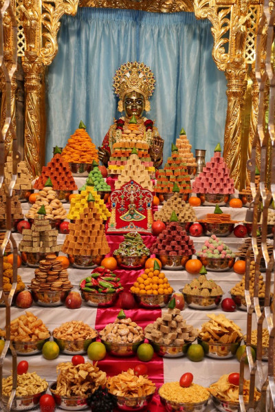 Divine darshan of Shree Harikrishna Maharaj and the grand annakut