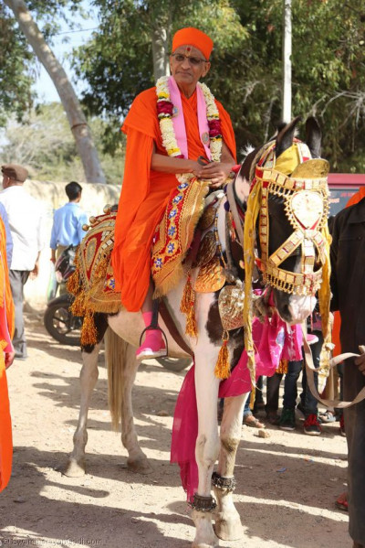 Acharya Swamishree rides a horse during the procession