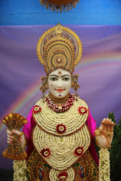 Divine darshan of Lord Shree Swaminarayan adorned in a shawl of fresh fragrant flowers
