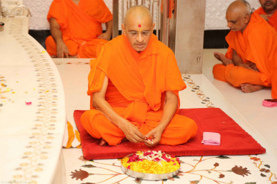 His Divine Holiness Acharya Swamishree presents flower petals at the lotus feet of Lord Shree Swaminarayanbapa Swamibapa