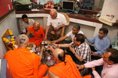 Inauguration poojan ceremony at the new guest house in Mumbai Mandir