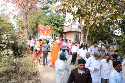 Disciples and local residents take part in the procession