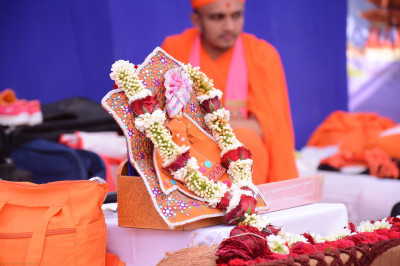 Divine darshan of Shree Harikrishna Maharaj adorned in bright orange