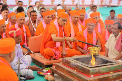 Acharya Swamishree pours ghee into the havan