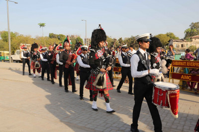 All three pipe bands perform