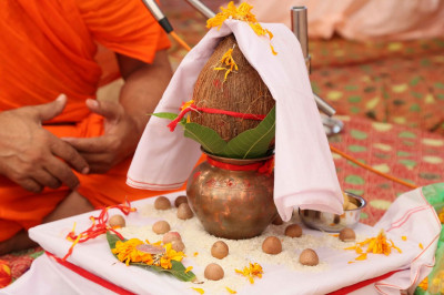 The mahapooja ceremony is performed to commence the scripture recitals