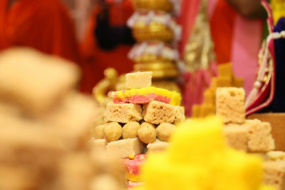 A splendid array of food is offered the the Lord in the form of an annakut