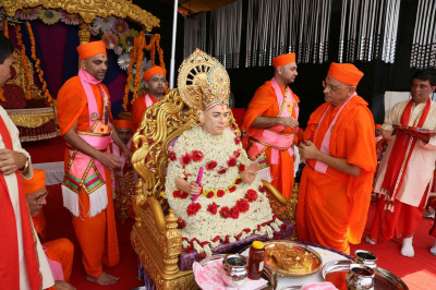 Acharya Swamishree Maharaj prays to Jeevanpran Swamibapa