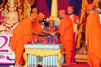 Sadguru sants put vagha on Acharya Swamishree Maharaj