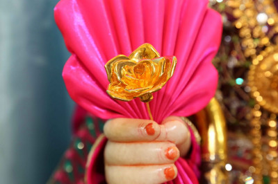 Lord Swaminarayan holds a gold flower