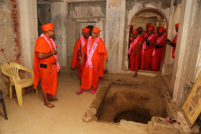 Exact location where Lord Shree Swaminarayan manifested. The hole is where people have taken pieces of 'prasadi' ground