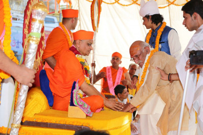 Acharya Swamishree gives darshan to a scholar