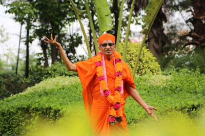 Acharya Swamishree gives darshan in a park