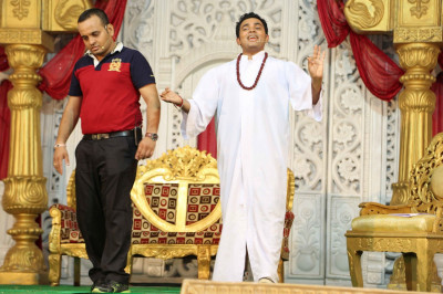 Disciples perform a drama depicting various facets of religion