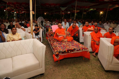 Divine darshan of His Divine Holiness Acharya Swamishree, sants and dsiciples enjoying the drama performances