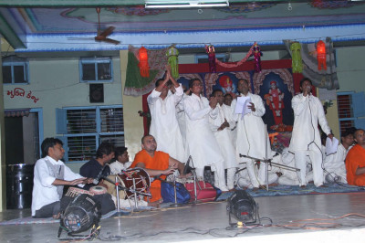 Sants and disciples in performance for the Bhakti Sangeet evening