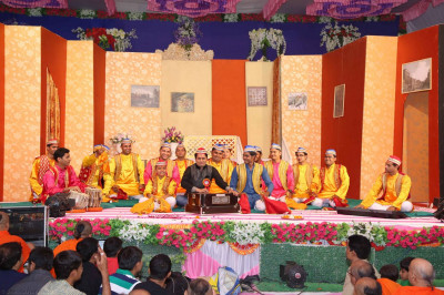 A kirtan performance by disciples