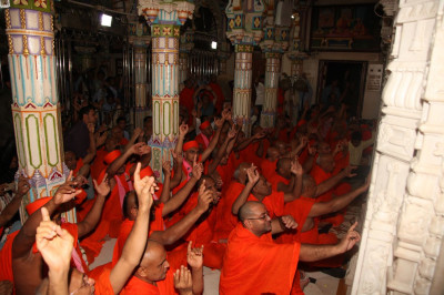 Sants and disciples gathered inside the mandir for darshan