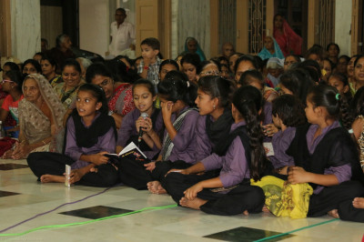 Young disciples perform devotional songs to please Lord Shree Swaminarayanbapa Swamibapa