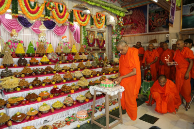 His Divine Holiness Acharya Swamishree cuts the celebration cake